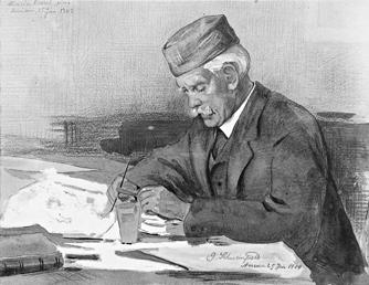Georg Schweinfurth in Ägypten, Assuan 1909 – Zeichnung von Maria Ressel