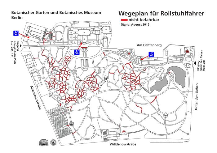 Gartenplan barrierefrei, Stand: August 2015. Grafik: Botanischer Garten und Botanisches Museum Berlin