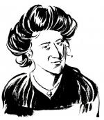 Porträt von Rosa Luxemburg, vom Comic-Künstler Reinhard Kleist.