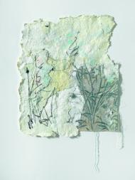 Gudula Fisauli: Giovanna, 2014, Collage, Stoff, Acryl auf geschöpftem Papier, 56 x 45 cm