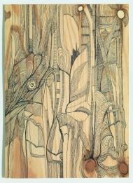 Gudula Fisauli: Movimento V, 2015, Fineliner auf Sperrholz, 39,2 x 29,8 cm