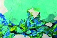 Gudula Fisauli: Patagonia III, 2016, Papierschnitt-Collage, Acryl, 30 x 39,5 cm
