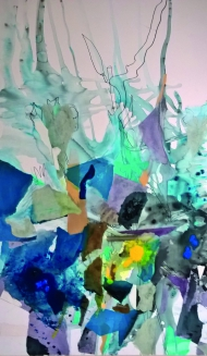 Gudula Fisauli: Sicilia III, 2015, Papierschnitt-Collage, Acryl, Edding auf Leinwand, 200 x 133 cm